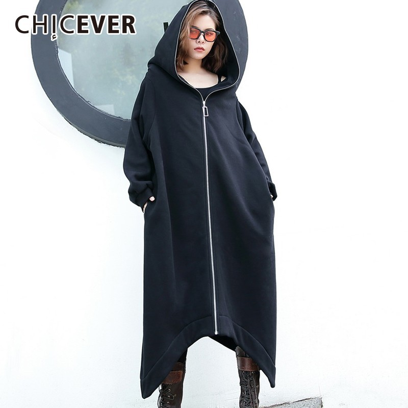 CHICEVER 2019 Spring Autumn Thick Women's Windbreaker Hooded Long Sleeve Loose Oversize Asymmetric Hem   Trench   Female Fashion New