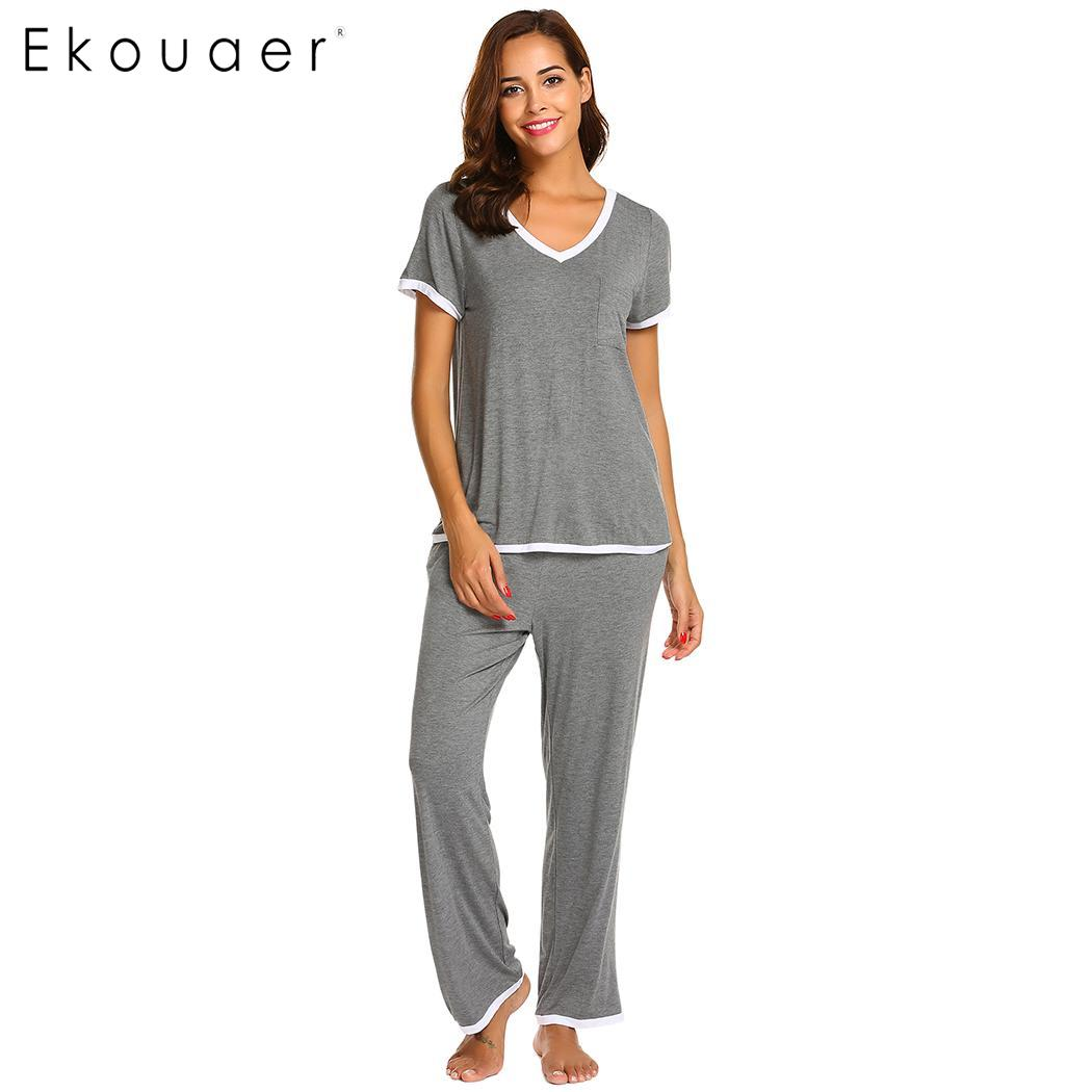 Ekouaer Women Pajamas Set Short Sleeve V-Neck Tops Long Pants Soft Loose Pajamas Set Female Sleepwear Pyjamas