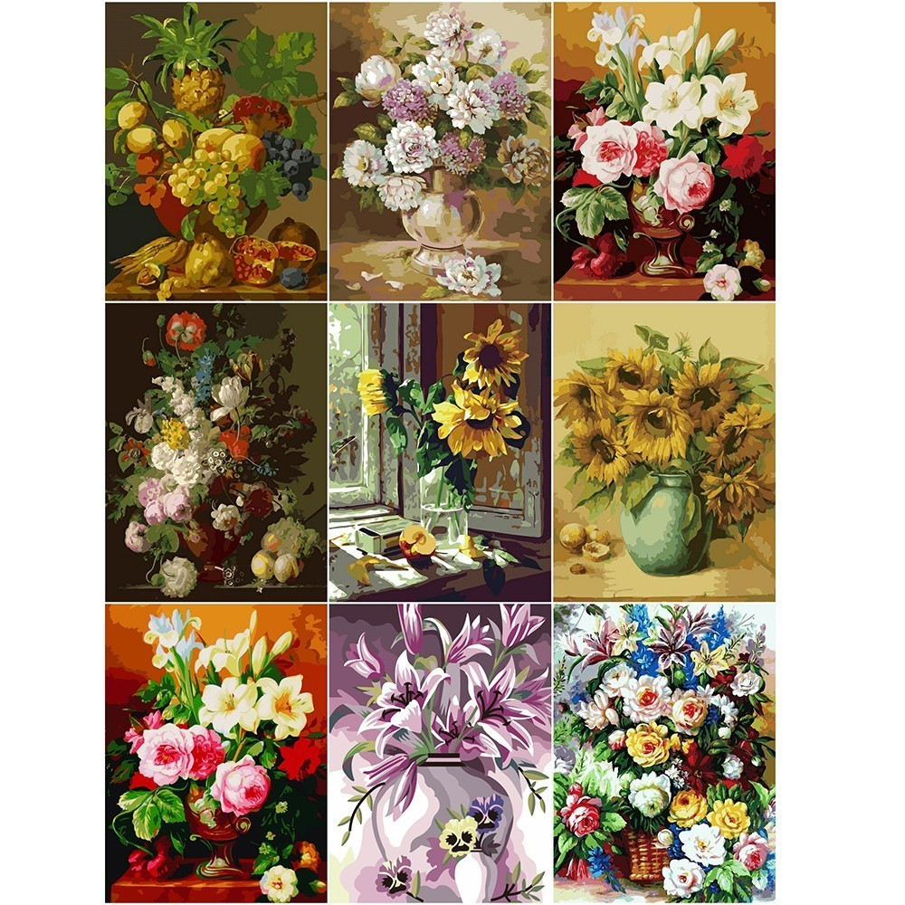 AZQSD DIY Painting By Numbers Sunflower Paint Canvas Picture Hand Painted Oil Painting Flower In Vase Home Decoration SZYH6205