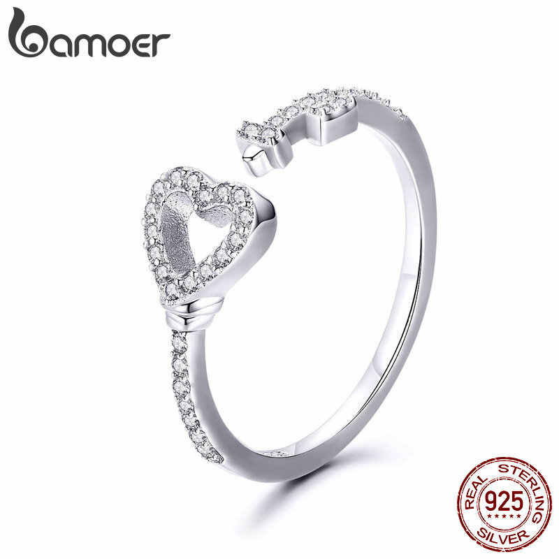 BAMOER Valentine Day 100% 925 Sterling Silver Love Heart & Zircon Key Rings for Women Wedding Engagement Jewelry SCR502