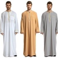 Islamic Men Jubba Thobe Saudi Arabia Abaya Traditional Arabic Dubai Long Sleeve Embroidery Clothing Mens Ramadan Muslim Dress
