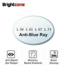 Un paio anti blu Ray luce asferica lente CR 39 prescrizione miopia presbiopia lente trasparente anti radiazioni 1.56 & 1.61 & 1.67 indice