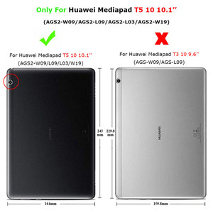 Image 5 - สำหรับHuawei MediaPad T5 10 กรณีPUหนังฝาครอบสำหรับHuawei T5 10 AGS2 L09/L03/W09/W19 10.1 แท็บเล็ต + ฟิล์ม