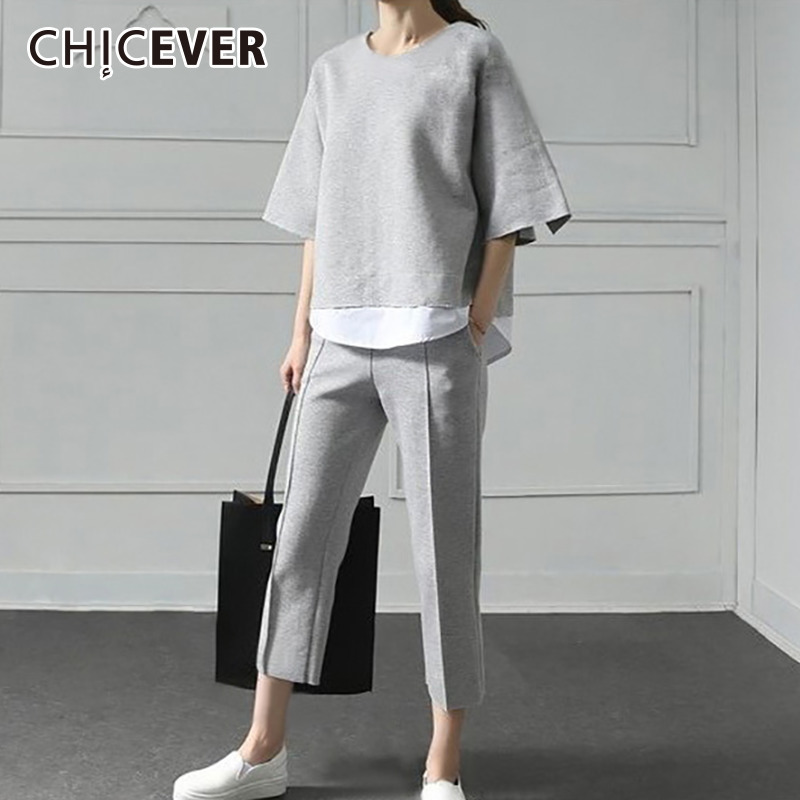 CHICEVER Autumn Two Pieces Set Women Suit Patchwork Hem Top With Elastic Waist Plus Size Calf Length Pants Female Clothes New