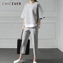 CHICEVER Autumn Two Pieces Set Women Suit Patchwork Hem Top With Elastic Waist Plus Size Calf Length Pants Female Clothes New