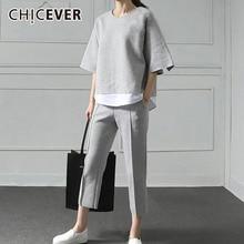 Chicever 秋二枚セット女性スーツパッチワーク裾トップ弾性ウエストプラスサイズ長パンツ女性服新しい