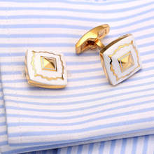Hot Square Blue Enamel Cufflinks Gold Cuff links Designer Shirt Gemelos Wedding Cuffs Boutons Collar Studs V172