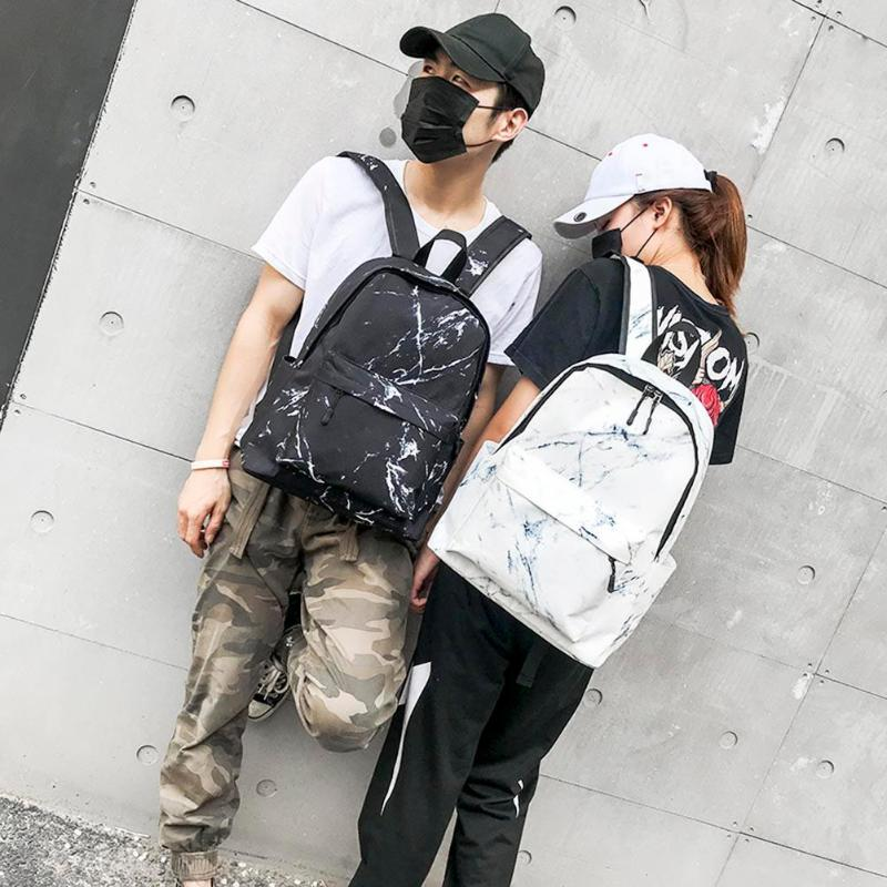 Fashion Boys Girls Marble Print Backpack Preppy Style Rucksack Canvas Shoulder School Bags Casual Accessories 2019 New in Backpacks from Luggage Bags