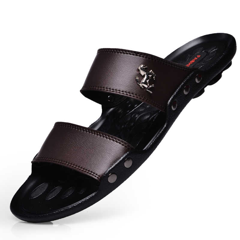 2019 летние мужские шлёпанцы на платформе Модные шлёпанцы сандалии пляжные мужские сандалии резиновая обувь