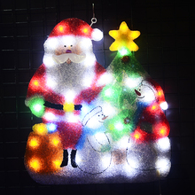 2D Christmas Santa clause & snowman festival lights - 21 in. Tall navidad Cafe Bar signboard hanging  Signage wall decoration