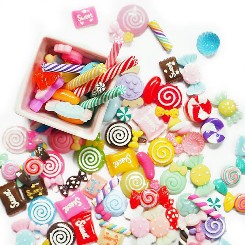 Slime Charms Mixed Resin Candy Beads Slime Sweets Bead Making Supplies Diy Collage Crafts Color & Shape