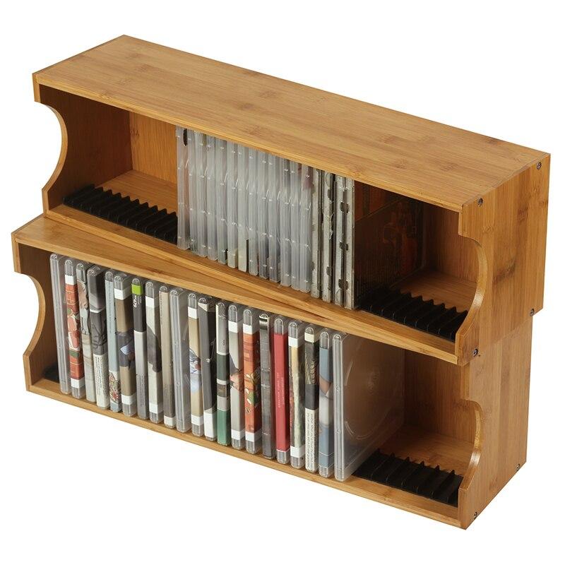 Haute Capacité CD Rack De Stockage PS4 Disque De Jeu Rack De Bureau CD Rack En Bois Massif Blu-ray Disque Jeu CD Rack Décoratif partition Mur