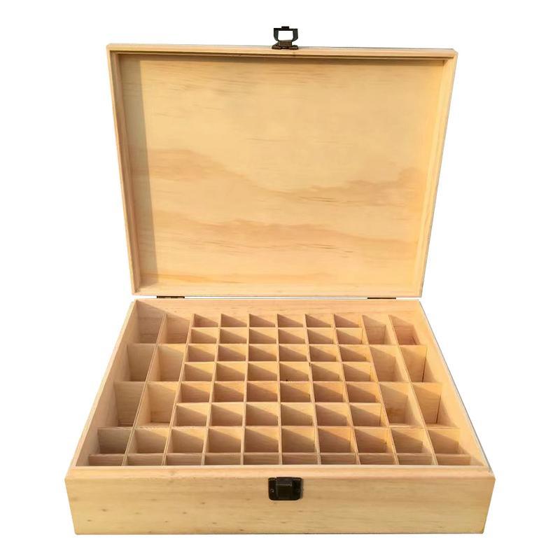 68 grilles en bois naturel grande capacité huile essentielle boîte de rangement maquillage organisateur vitrine de bijoux conteneur bouteilles titulaire