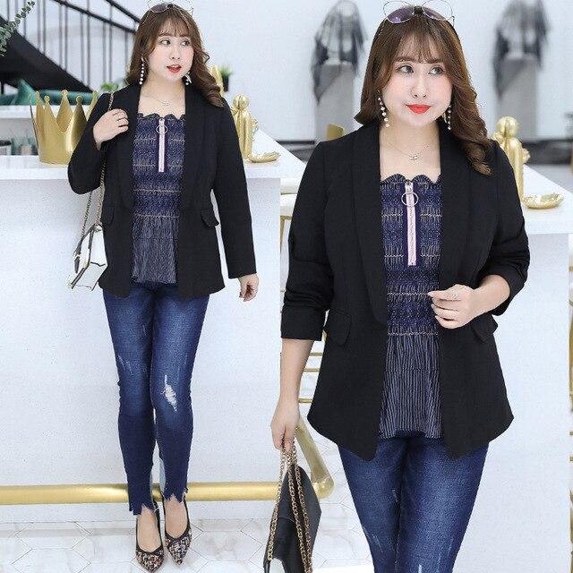 Plus Size XL-4XL Women Blazer Coat Spring Autumn Lapel Open Front small suit jacket coat Slim Short Large Jacket Tops Big Size