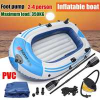 fishman Sports Inflatable Fishing Boat Raft PVC Canoe Dinghy Tender 2/3/4 Person Kayak Fishing Boats Cushion Rowing Boats