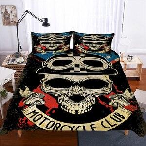 Image 1 - Bettwäsche Set 3D Druckte Duvet Abdeckung Bett Set schädel Home Textilien für Erwachsene Lebensechte Bettwäsche mit Kissenbezug # KL02