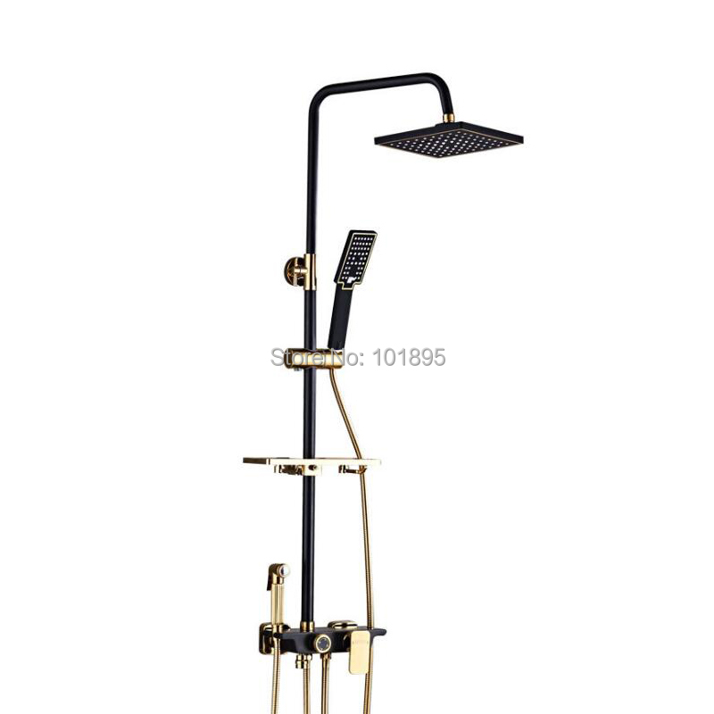 Cold & Hot Water Brass Material Black Color 4 Wayout Overhead Rain Shower FaucetCold & Hot Water Brass Material Black Color 4 Wayout Overhead Rain Shower Faucet