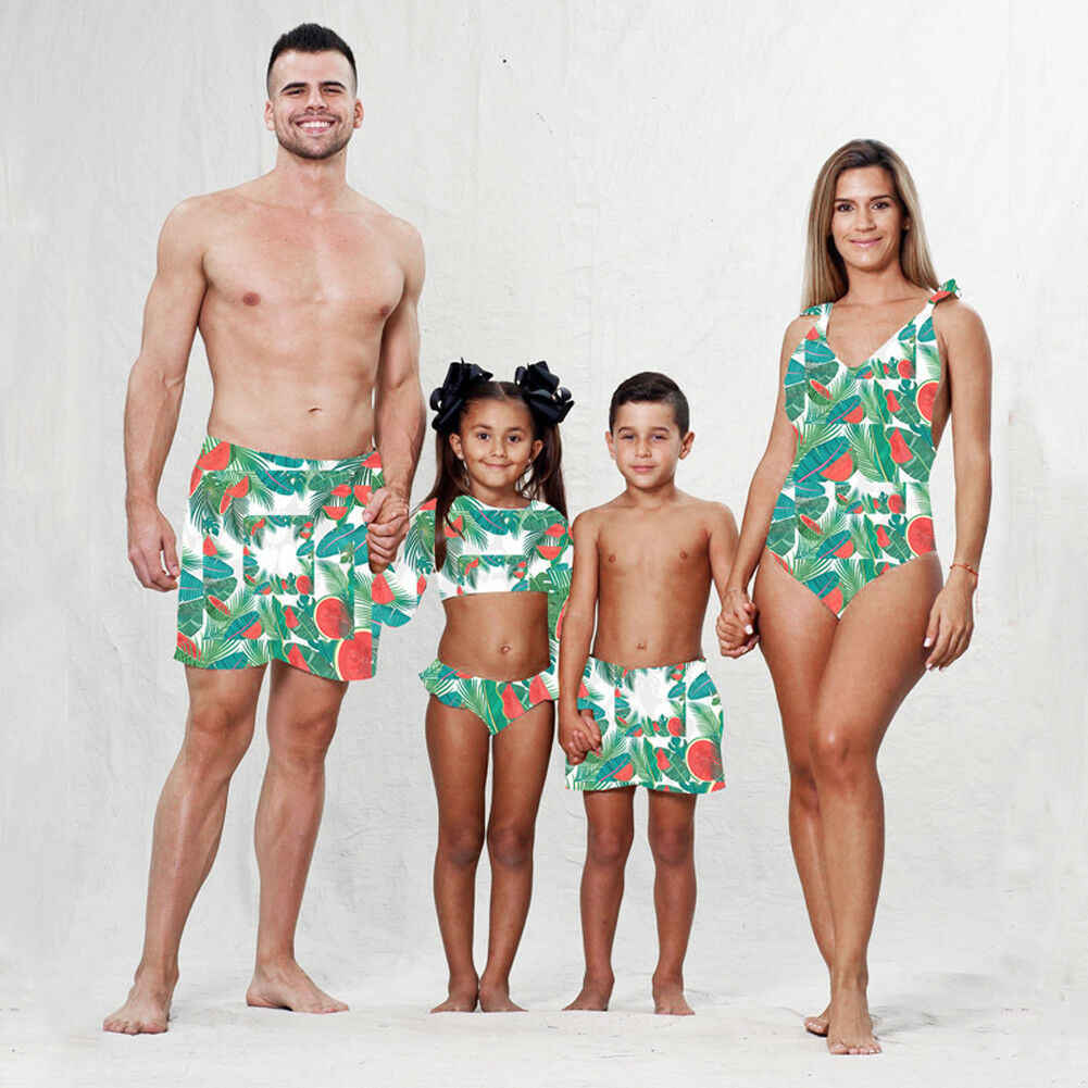 d963a29e39 Family Matching Swimwear Women Men Baby Girls Boys One Piece Bodysuit Board  Shorts Watermelon Printed Floral