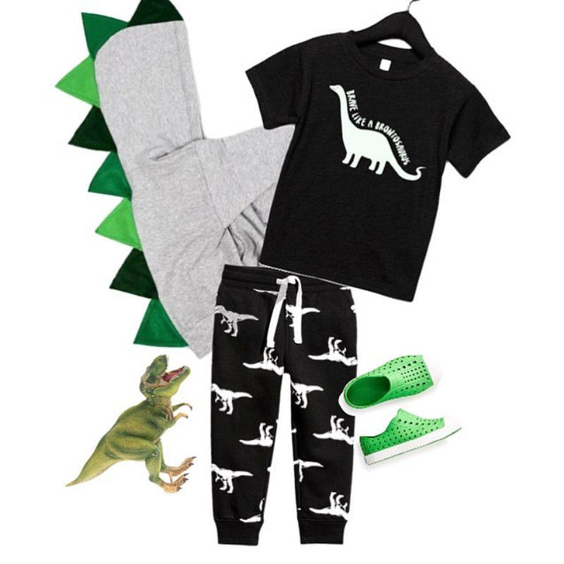 Pudcoco Boy Set 6M-5Y Dinosaur Toddler Kid Baby Boy Cartoon Tops T-shirt Pants Legging Outfits Clothes