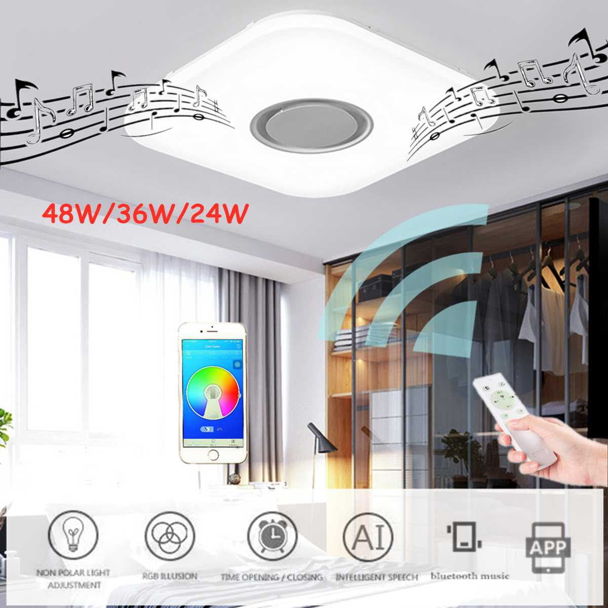 Modern LED Ceiling Light RGB Dimmable APP Remote Control Music 24W 36W 48W Surface Mounted LED Ceiling Lights Plafonnier LED image