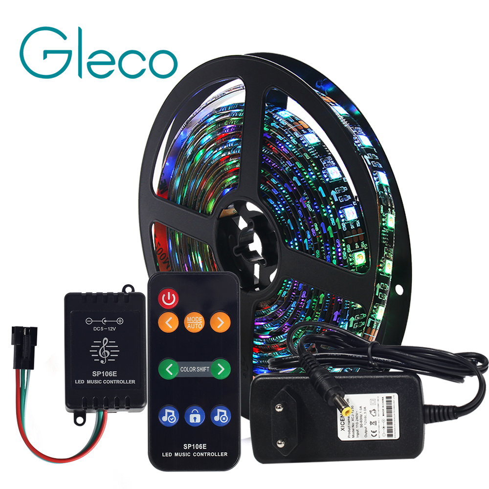 Music Control LED Strip Set Dream Color WS2811 LED Strip 5050 RGB 5M/Lot With Music Controller RF Remote,12V Adapter EU/US Plug