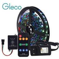 Musik steuerung Led-streifen set Traum farbe WS2811 LED Streifen 5050 RGB 5 mt/los mit Musik controller RF Remote, 12V Adapter EU/Us-stecker