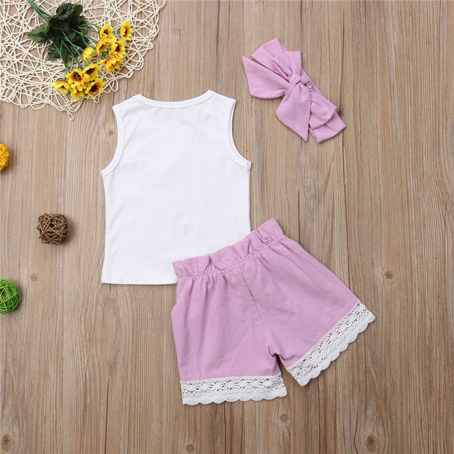 Newborn Baby Girl Clothes Set Love Summer Sleeveless Heart Round Neck Tops Lace Bow Pants 3Pcs Girl Clothing Outfits 0-24M
