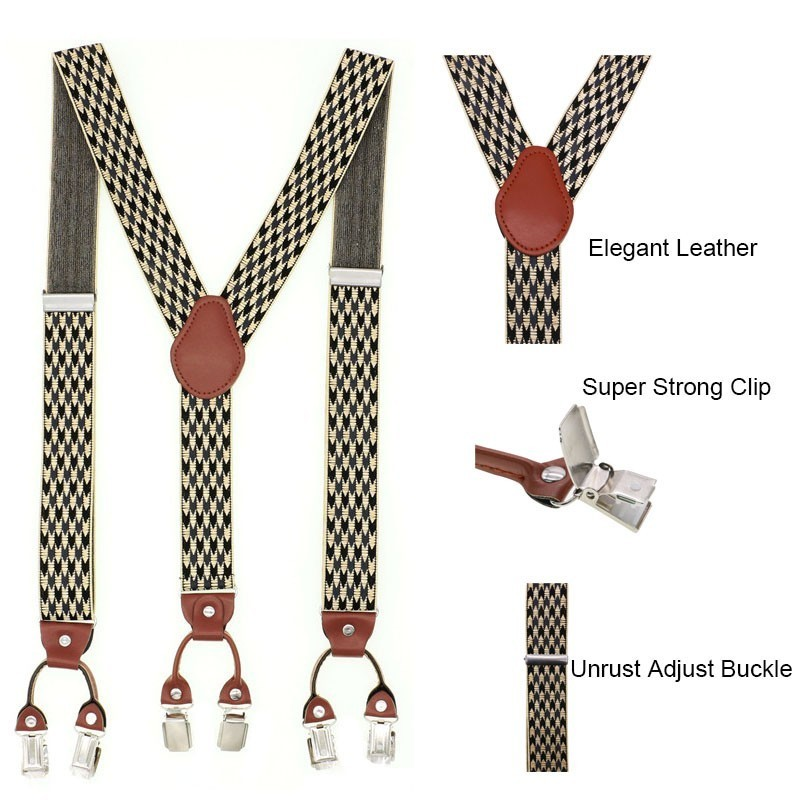 Shirt Suspenders Braces Belt-Strap Adjustable Brown 6-Clip Casual Dad Fashion Gift Unisex