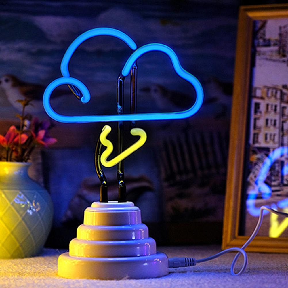 LED Neon Night Light White Cloud Shaped With Base Battery Powered Table Lamp For Kids Room Holiday Decoration