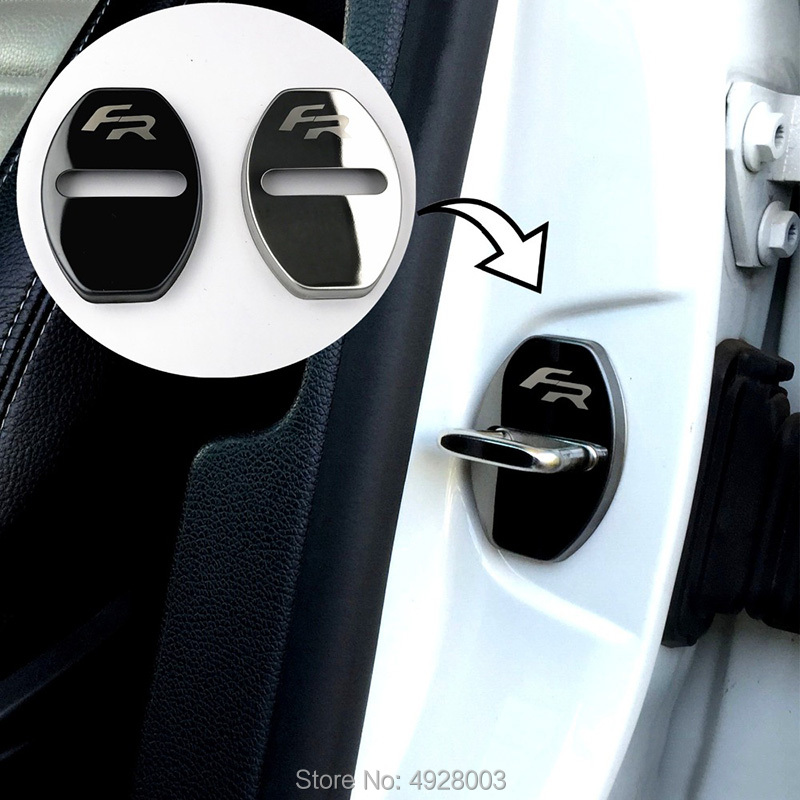 Image 3 - Door Lock Caps Protective Cover 4pcs Fit For Seat FR Leon Ibiza Arona Ateca Toledo Steel Car Styling-in Chromium Styling from Automobiles & Motorcycles