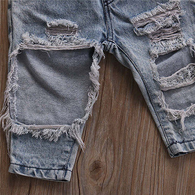 Summer Fashion Toddler Baby Girls Clothes Dot Sleeveless 3pcs Tops+Hole Jeans Outfits Casual Clothes 0-3Y Girls Clothes Baby 3