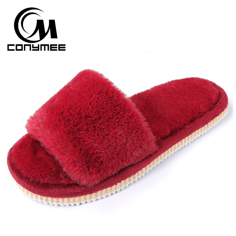 2019 Womens Fur Slippers Winter Shoes Big Size Home Slippers Plush Pantufa Women Indoor Warm Fluffy Terlik Cotton Shoes ZJ-MM