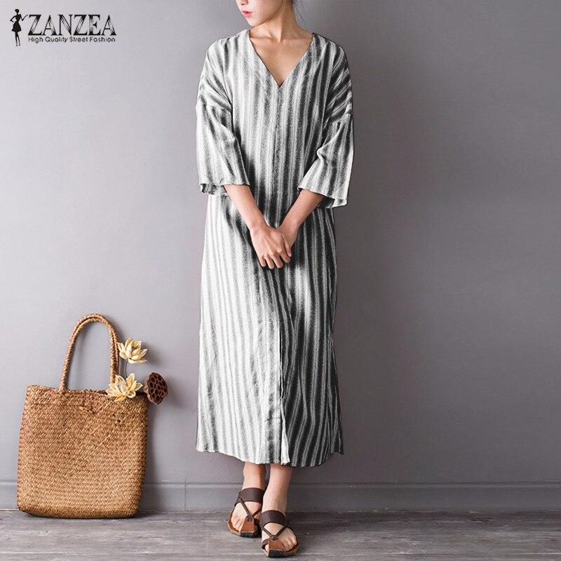 S-5XL ZANZEA Women Vintage Maxi Long Dress 2019 Summer Sexy V Neck Split Linen Dresses Casual Loose Plus Size Striped Vestidos