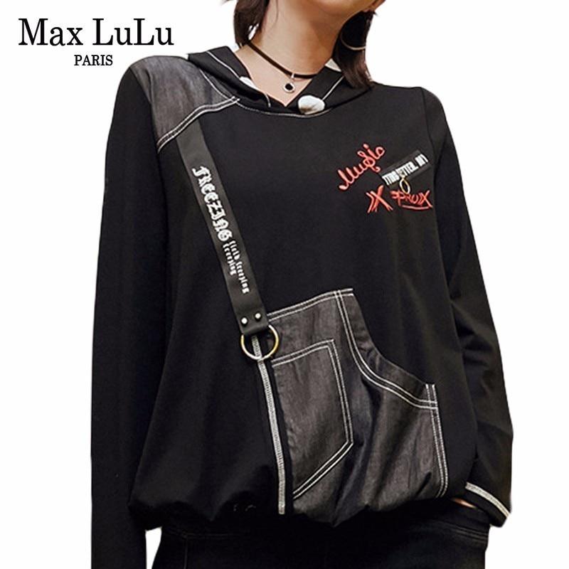 Max LuLu Primavera 2019 Moda Japão Senhoras de Punk Topos de Culturas Tees Womens Com Capuz Camisetas Harajuku Mulher Denim Tshirt Preta plus Size