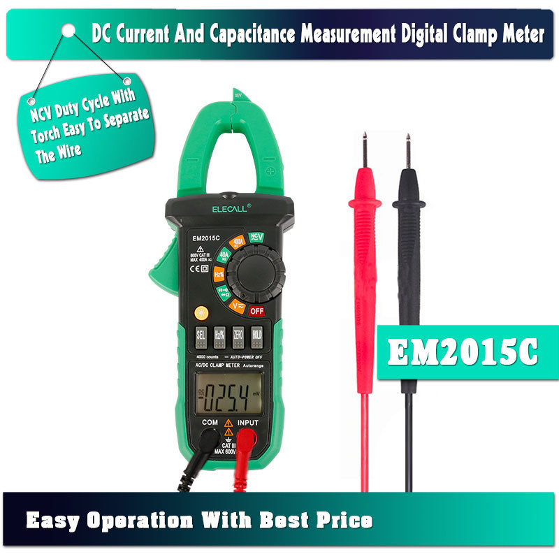 New Arrivals Capacitance Measurement Digital Current Clamp Meter NCV Duty Cycle With Torch Wire 0 600A