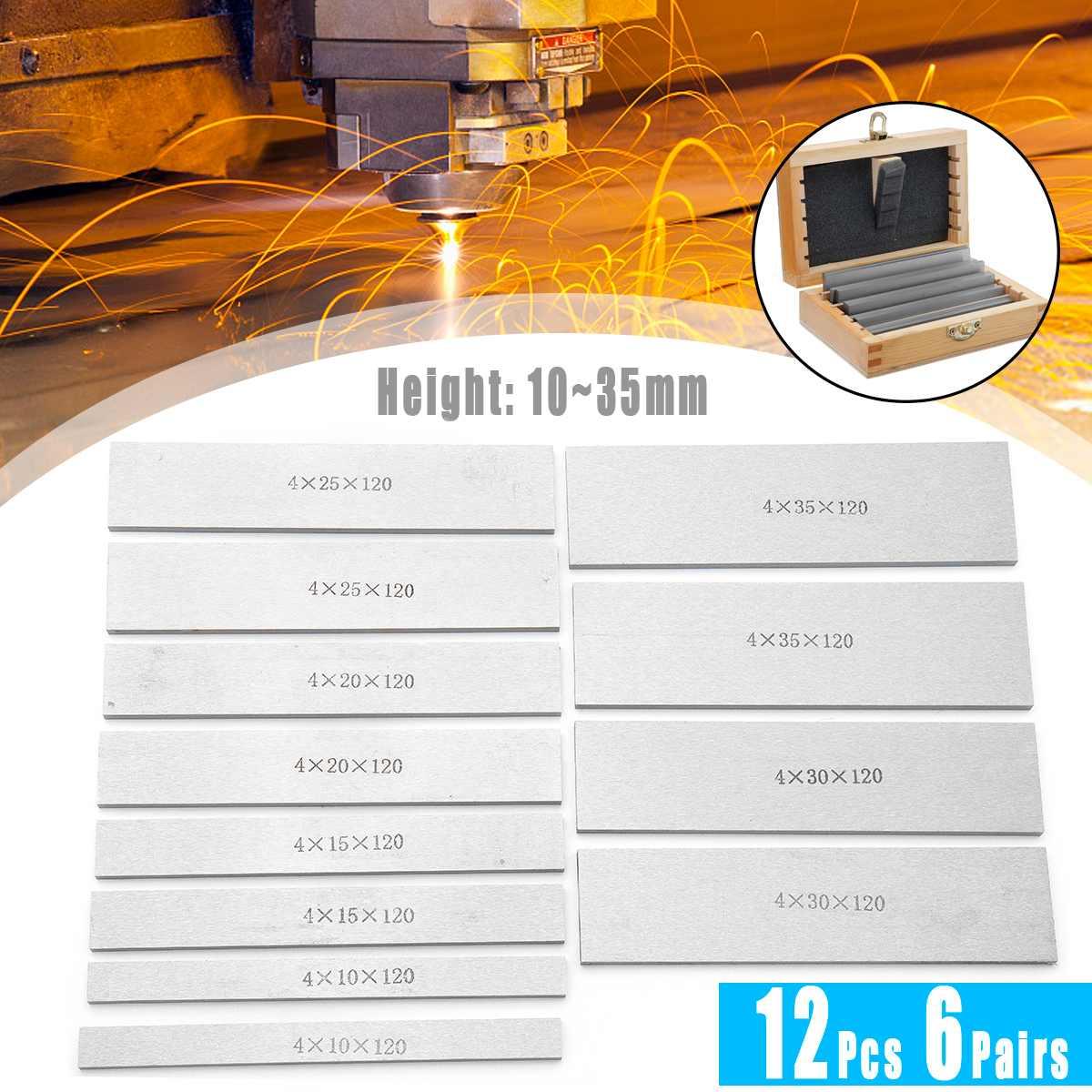 6 Pairs 12Pcs Parallel Pad Gauge Block Alloy Steel CNC Milling Pads Set 120mm X (10-35mm) Ideal For Vice Milling Machine Lathe