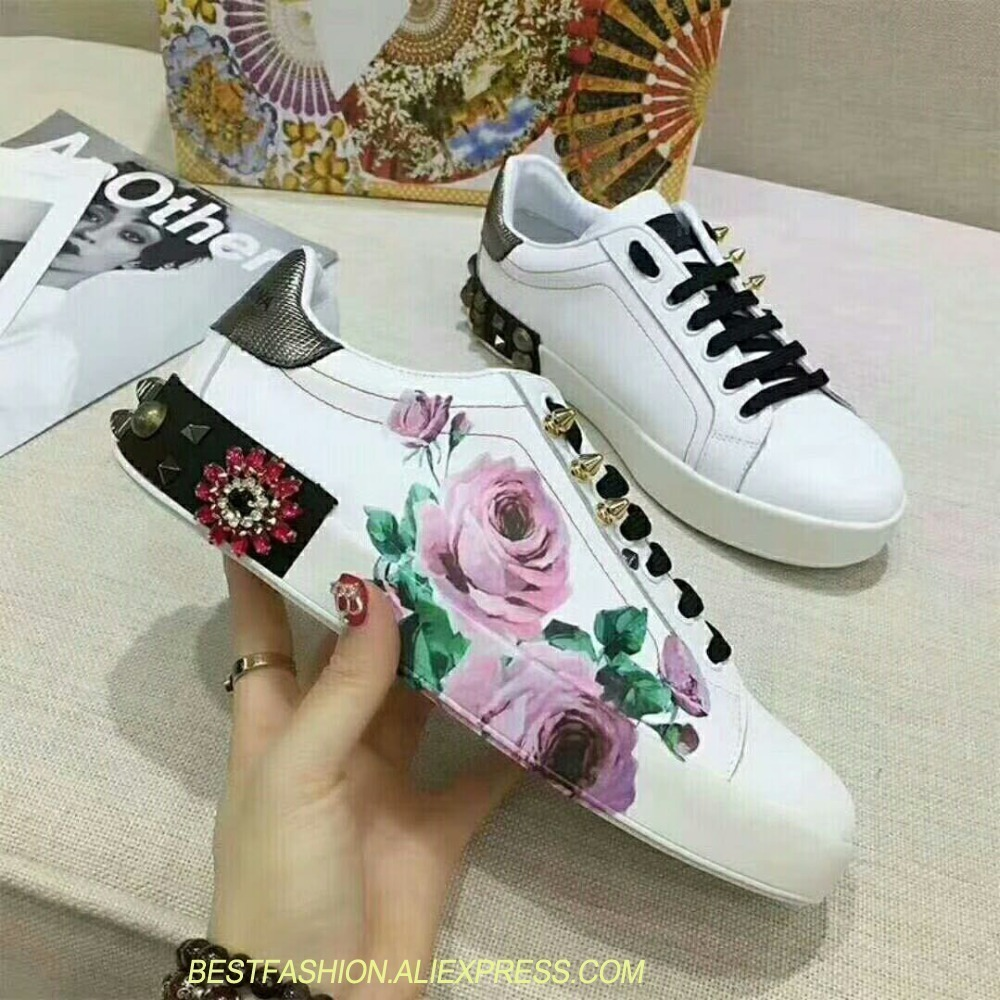 White Real Leather Flower Decor Women Sneaker Crystal Platform Shoes Casual Women Shoes Luxury Rivet Zapatillas Deportivas MujerWhite Real Leather Flower Decor Women Sneaker Crystal Platform Shoes Casual Women Shoes Luxury Rivet Zapatillas Deportivas Mujer