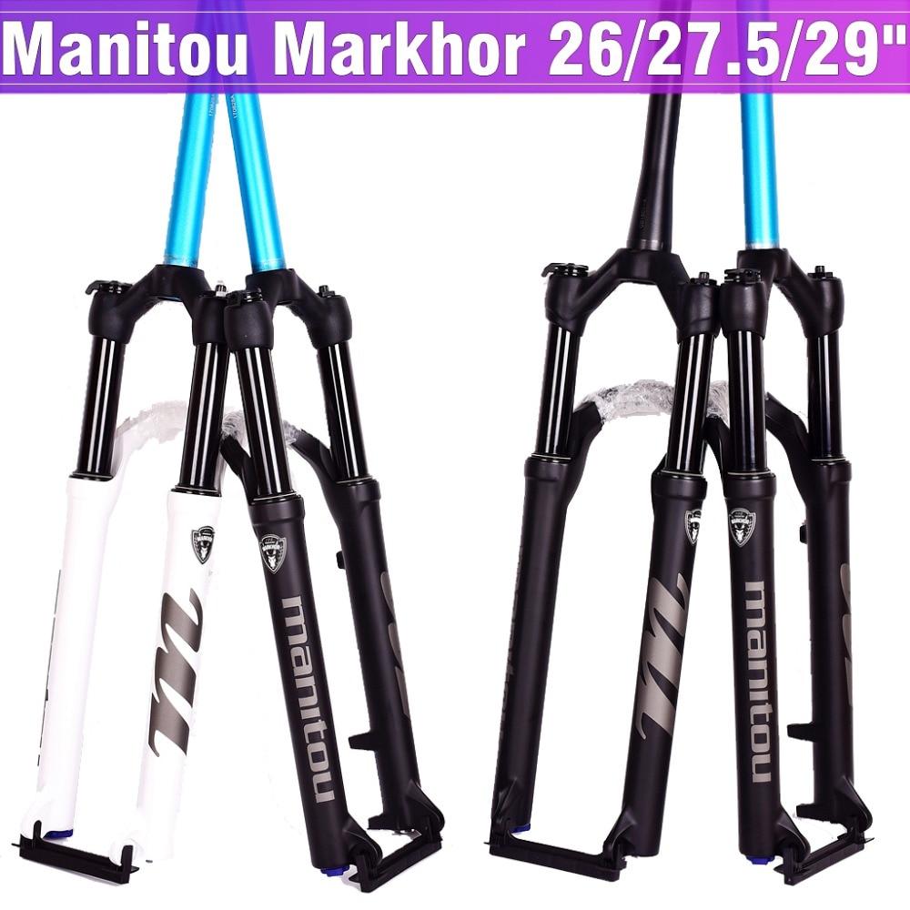 Garfo de bicicleta manitou markhor bicicleta garfo 26 27.5 polegada 29er mountain mtb garfo suspensão a óleo e gás fork bloqueio remoto 1635g