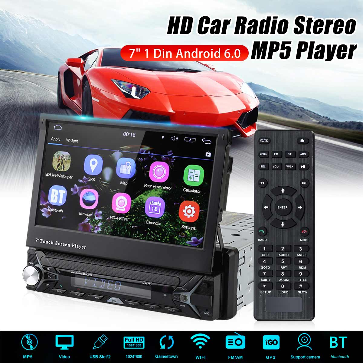 Car Multimedia Player Car Radio 7 1 Din Quad Core Android 6.0 Car DVD Player WIFI 3G GPS Stereo Player bluetooth Radio Indash