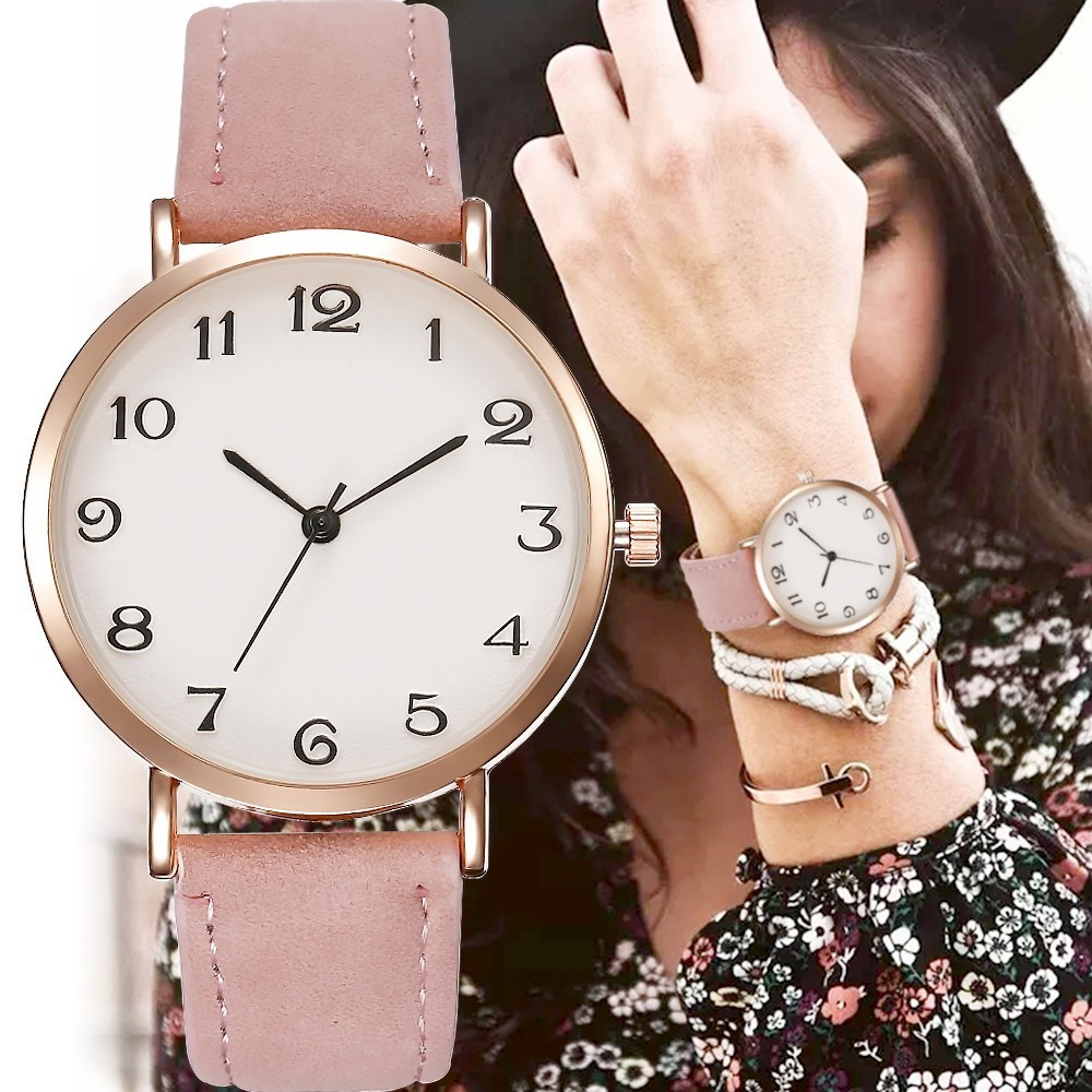 2019 Style Fashion Women's Luxury Leather Band Analog Quartz WristWatch Golden Ladies Watch Women Dress Reloj Mujer Black Clock