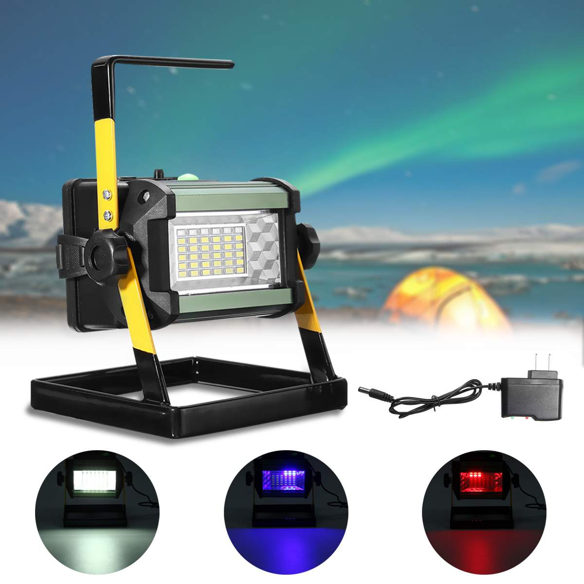 AC110-240V Rechargeable LED Flood Light 50W 2400LM 36 LED Floodlights Spot Camping Portable Outdoor Flashing Lamp EU/US plugAC110-240V Rechargeable LED Flood Light 50W 2400LM 36 LED Floodlights Spot Camping Portable Outdoor Flashing Lamp EU/US plug