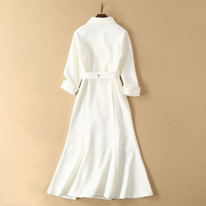 Image 4 - dressing dresses for women creamy white audrey hepburn dress peter pan collar belted button midi business dress for women office