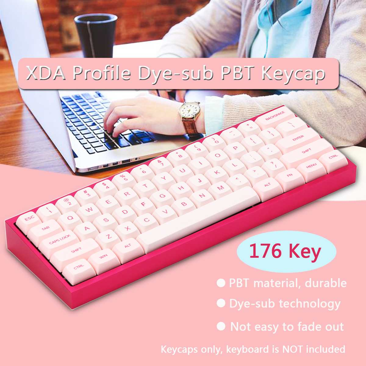 Pink 176 Key Xda Profile Dye-sub Pbt Keycaps Full Layout Keycap Set Mechanical Gaming Keyboard Keycaps Cute Keycap To Reduce Body Weight And Prolong Life