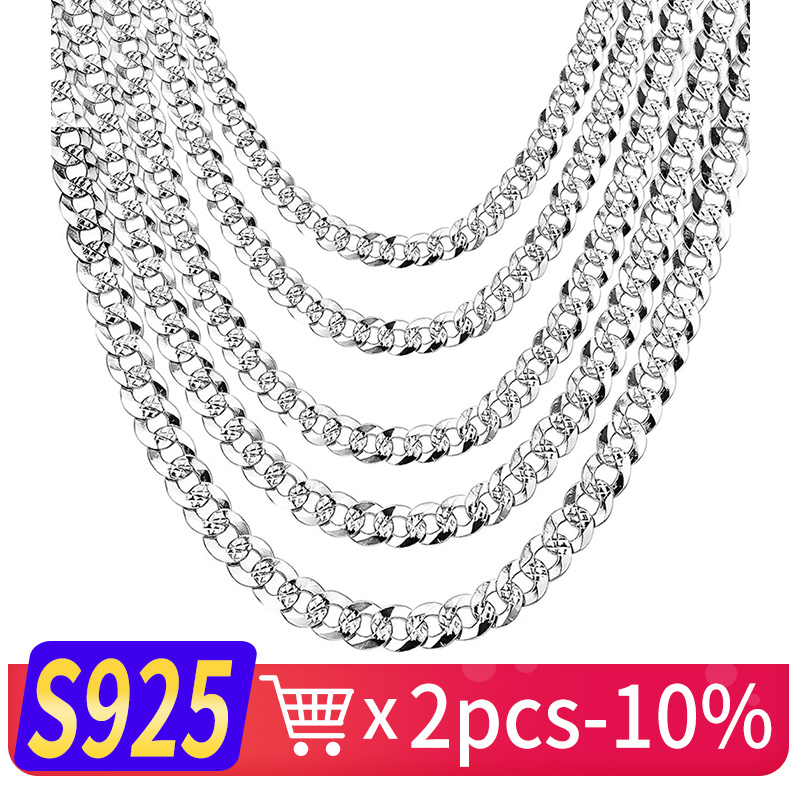 WK 100% 925 Sterling Silver Mens Silver Chain Necklace Men Hip Hop Rapper Curb Cuban Link Chain Male 4MM 5MM 6MM 20 22 26 NM005 solid silver 925 bold link chain necklace for mens 5mm thick chunky necklace simple style 100