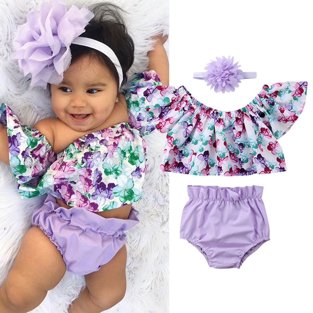 Pudcoco Girl Set 0-24M US Newborn Baby Girl Clothes Off Shoulder Floral Tops Shorts Headband Outfit Set