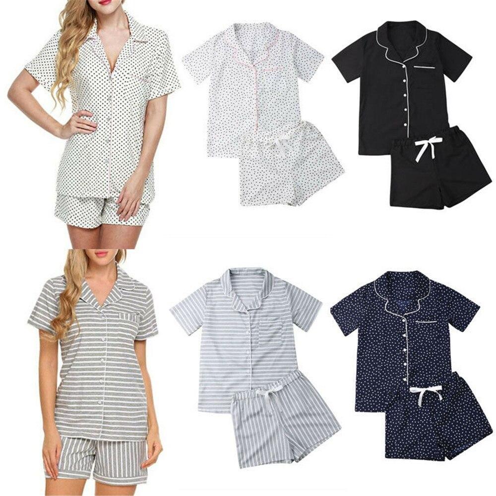New Women   Pajamas     Sets   Summer Short Sleeve Turn down Collar Striped Dot Button Design Shirts+Pants Homewear Sleepwear Robe Hot