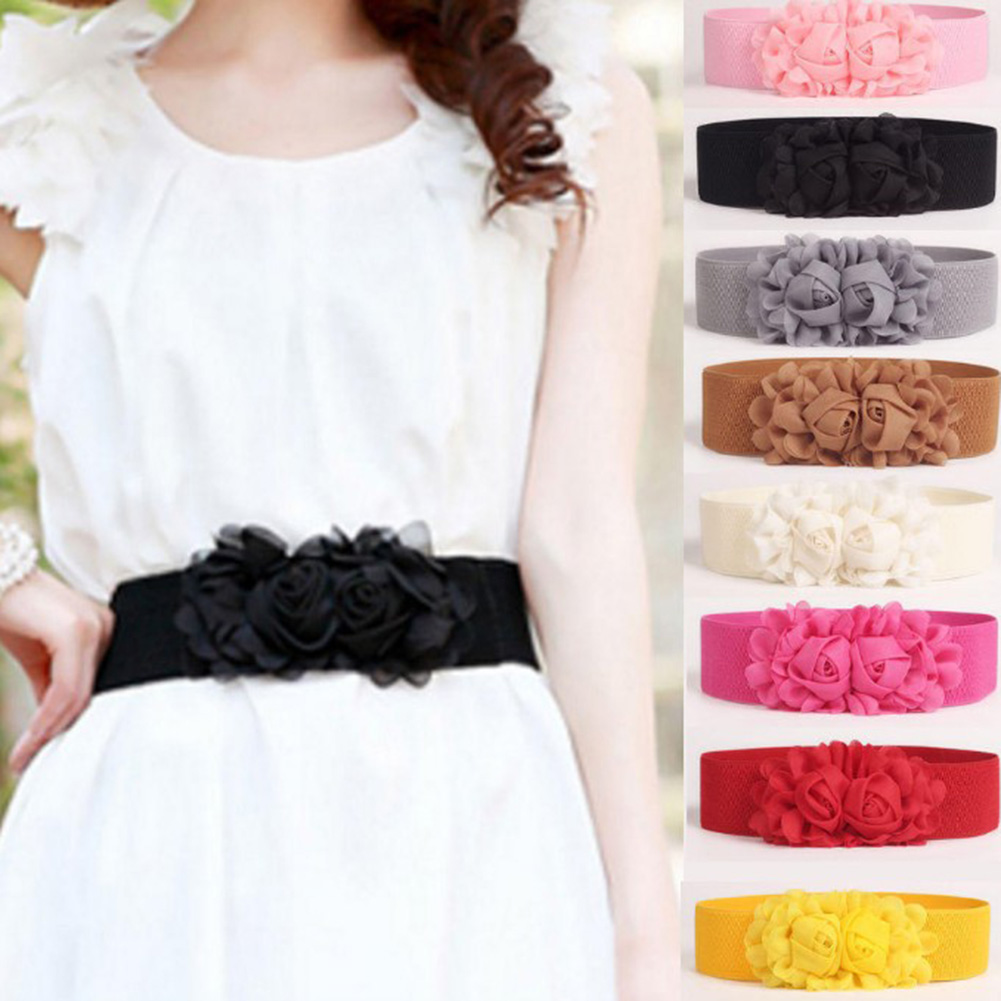 Fashion Lady Chiffon Double Rose Flower Buckle Elastic Waist Belt For Lady Dress Waistband Sweet & Romantic Belt