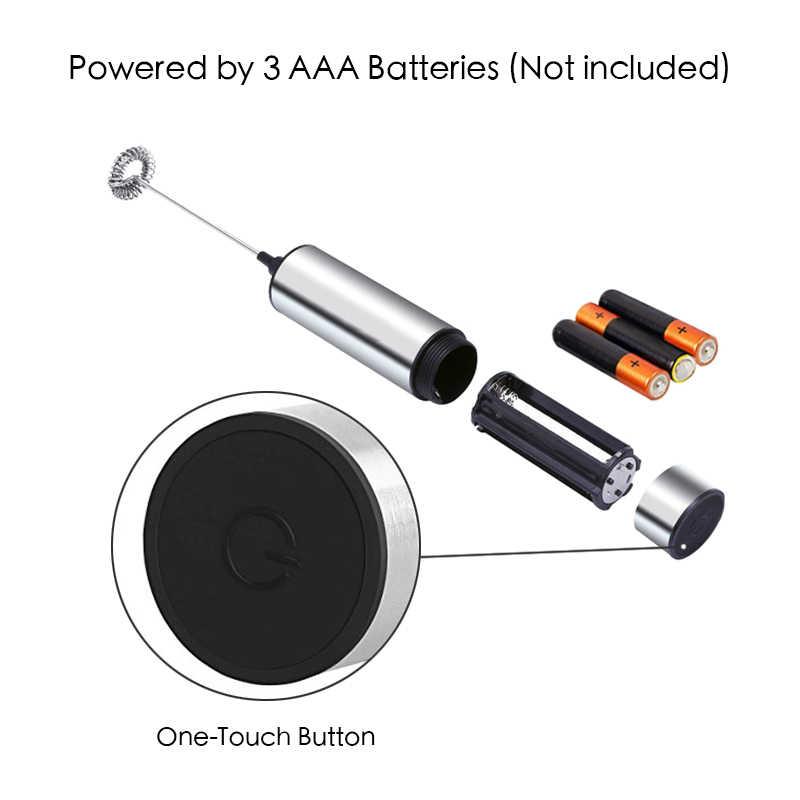 Batedor de Leite eléctrico 2 Mão Whisk Egg Beater Foamer Leite Misturador Da Cozinha Para O Café Cappuccino Bebidas Liquidificador Com Suporte