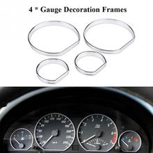 4pcs Car Front Dashboard Speedometer Gauge Decoration Frame Chrome Dash Dial Rings Trim for BMW E46 Auto Replacement Parts