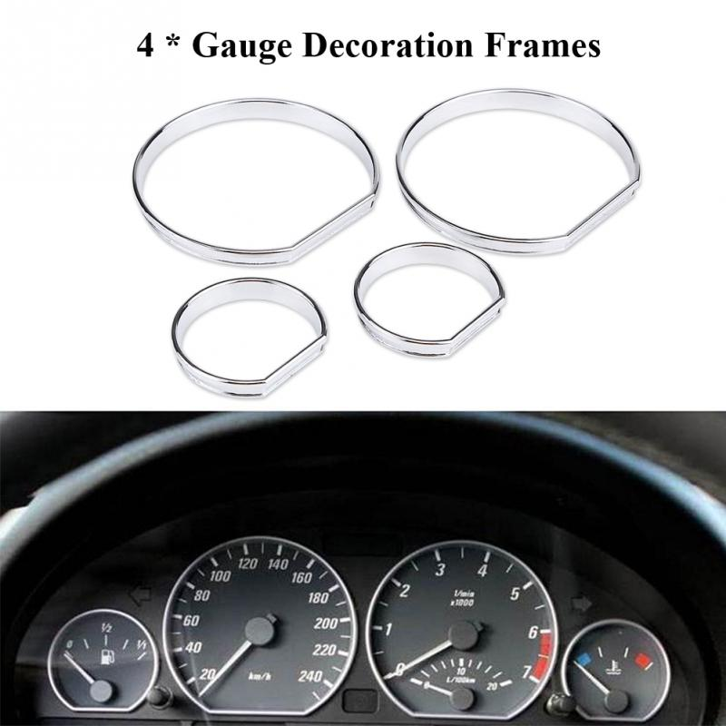 4pcs Car Front Dashboard Speedometer Gauge Decoration Frame Chrome Gauge Dash Dial Rings Trim for BMW E46 Auto Replacement Parts
